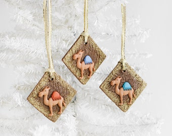 Camels Christmas Ornaments Nativity Scene with Gold Glitter Ribbon. Handmade Brown Polymer Clay Square Christmas Holiday Gift Set of 3.