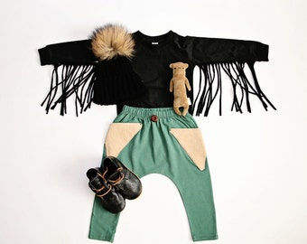 Black Moto-Fringe Pull-over
