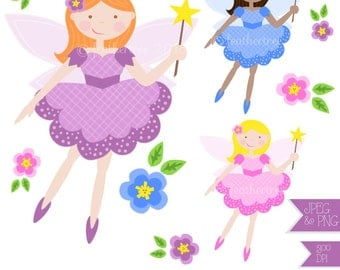 Cute Flower Fairy Clipart - Great for invites, card making and digital scrapbooking - JPEG and PNG 300 dpi - instant download