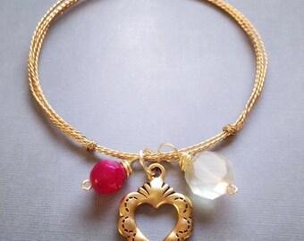 Milage Heart Bangle Bracelet