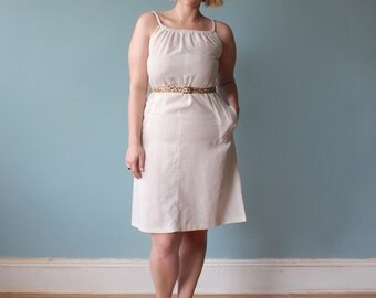 plus size dress / ecru plus size summer dress / 1980s / XL