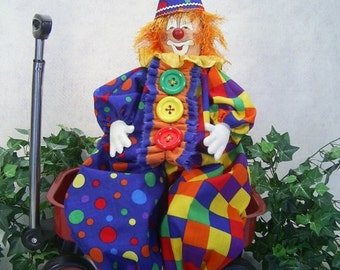 NOW ON SALE Cloth Doll E-Pattern - 24in Happy Clown Epattern