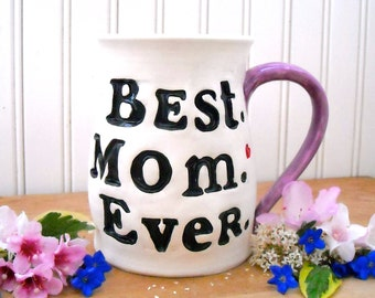 Mother's Day BEST Mom EVER Large Mug - HandMade Stamped Hand Painted Red Heart, Blue Bird of Happiness New Mommy MaMa Birthday Gift Teacup
