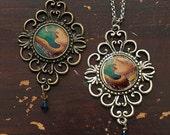 Ornate Octopus Pendant, Swarovski crystal, mermaid jewelry, squid woman, tentacles, ocean, bronze silver finish, bridesmaids gifts
