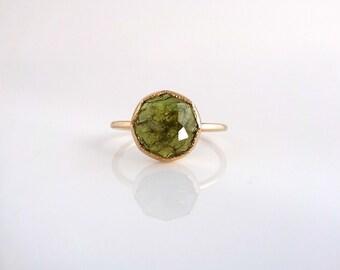 Green Garnet Nena Stacker Ring, round stackable gemstone ring, Handmade with recycled 14k gold or palladium