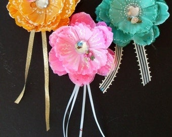 Refrigerator Magnets * Flowers With Bling * Set Of Three With Crystals