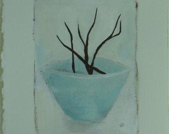 Bowl with Twigs - Original Painting by Elizabeth Bauman