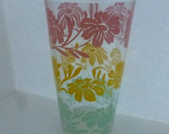 Vintage Mid Century Tumbler with Flowers in Coral Gold and Green