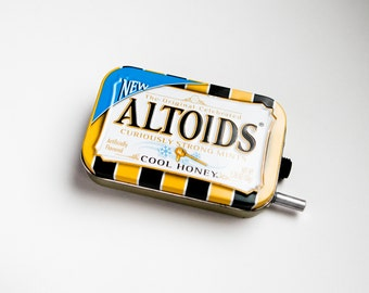 Portable Mint Tin Guitar Amp, Headphone Amp, MP3 Amp w/ Speaker, Volume Control, & 10X Gain (Cool Honey Altoids)