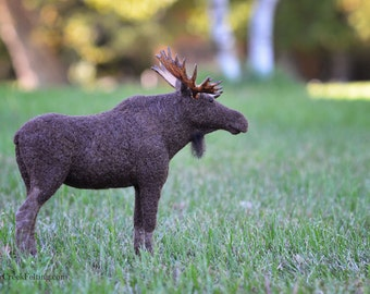Needle Felted Bull Moose Sculpture