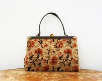vintage 60s Floral Tapestry Beige Brown and Peach Grandma's Wallpaper Handbag