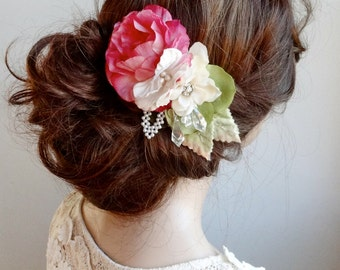 bridal hair clip, bridal headpiece, pink flower for hair, wedding hair piece, bridal hair flower, floral hair clip, floral hair comb, rustic