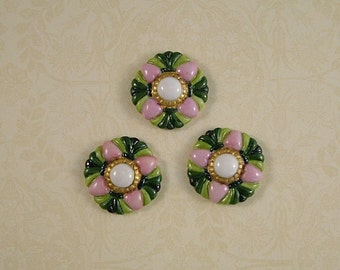 Green and Pink Medallion Button set of 3