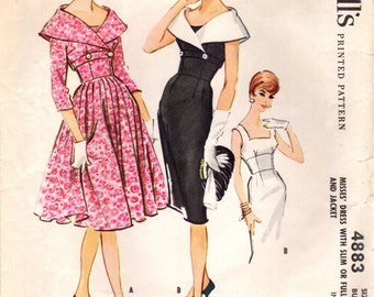 1950s McCall's 4883 Vintage Sewing Pattern Misses After 5 Dress Size 12 Bust 32
