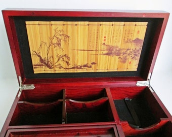 Desktop Organizer Box, Office Letter Box, Trinket Games Tray, Pen holder note cards Business Cards, Asian Bamboo Scene Vintage Display Box
