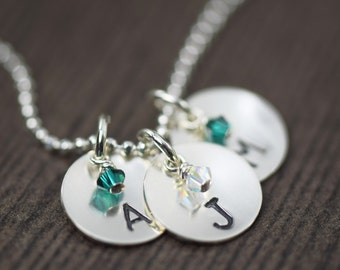 personalized birthstone necklace custom hand stamped necklace initial necklace initial charm Personalized necklace gifts for her