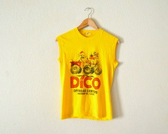 """1980's """"DICO"""" Sleeveless Yellow Shirt"""