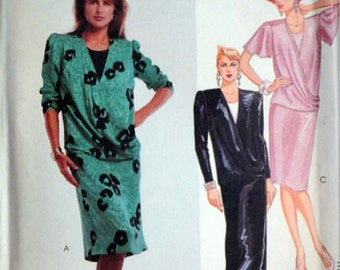 Vintage 80's McCall's 2881 Sewing Pattern, Misses' Drop Waist Dress or Gown, Size 12, 34 Bust, 1980's Fashion, Uncut FF