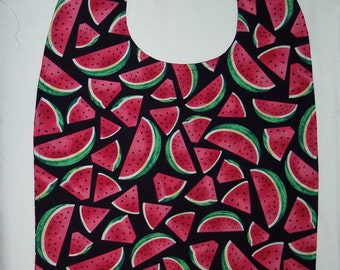 ADULT BIB Reverisble - Sliced Watermelon on Black