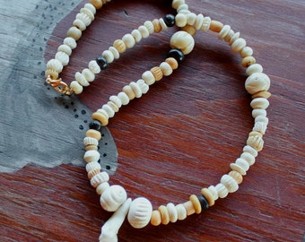 Coyote tooth necklace - real coyote tooth on bone beaded necklace totem skull bone