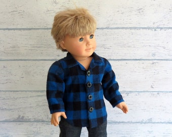 18 inch Boy Doll Clothes Blue Plaid Flannel Shirt - American Boy Doll Winter Shirt