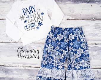 Baby Girl Christmas Outfit, Toddler Girl Clothes, Top and Ruffle Pants Set Baby Its Cold Outside snowflakes blue silver Charming Necessities