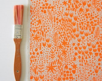 Signs of Spring screen printed fabric for patchwork, sewing, embroidery, framing & crafting in neon + metallic colours/colors