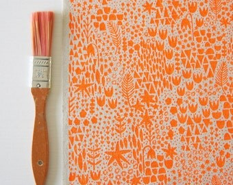 Signs of Spring - original screen printed fabric - hand printed fabric panels and fat quarters for sewing, quilting, home decor & framing