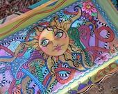 Hippie Art, Singleton Hippie Art, Sunshine, Hippie Painting, Hippie garden, Peace painting, Psychedelic art, trippy art, mushroom art, large