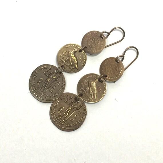 Brass Coin Dangle Earrings