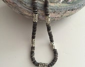 RESERVED for ArkaysCreations: Charcoal, gray and neutral seashell necklace - unisex beach surfer necklace