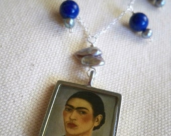 Azul de Frida silver gray pearl and lapis necklace