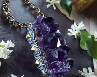 Amethyst Necklace - Amethyst Geode Necklace with Brass Studs - Dark Purple Amethyst from Uruguay - Purple Uruguayan Amethyst - Freyja