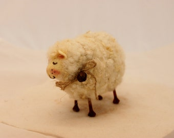 Sheep Little WhiteSheep Prim Needle Felted Sheep #1564