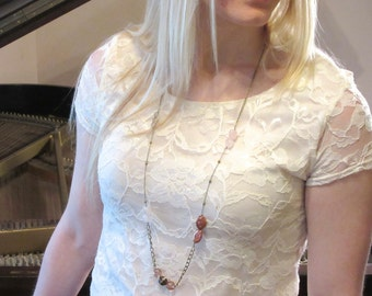 Long Mixed Bead and Chain Bohemian Necklace