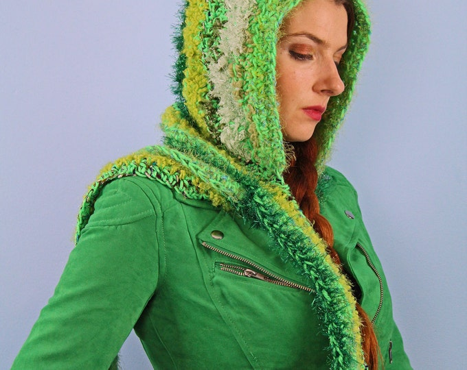 Green Crochet Hooded Scarf  Soft Snood Skood Winter Gift for Adults, Women, Teens and Children
