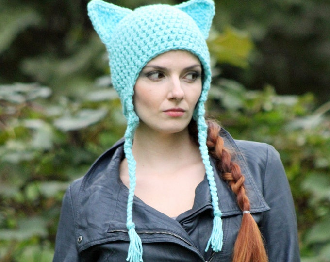 Can't Grab This Pussy Cat Kitten Hat Teal Fox Ear EarFlap Hat Women's March on Washington.