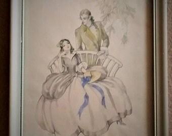 Vintage Art, Pencil 19th C Couple, signed MKE, courtship romance, original white wood frame