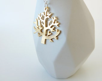 Gold Tree Charm Necklace -- Sterling Silver Chain & Clasp -- Tree Branches Pendant -- UK Shop