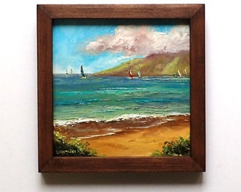 KAANAPALI BEACH MAUI Framed Original Oil Painting Art Hawaii Tropical Ocean Island Paradise Sailboat Sailing Hawaiian Molokai Wedding Relax