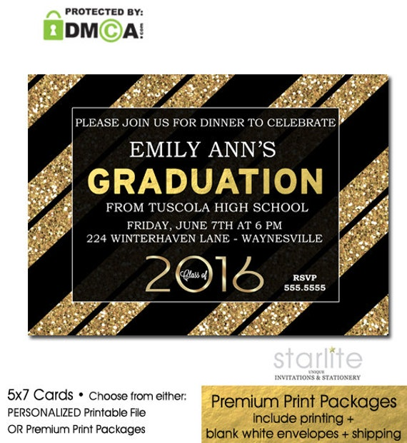 Items similar to Black Gold Glitter Stripes Graduation Party – Black and Gold Graduation Invitations