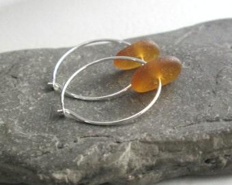 Brown Sea Glass Jewelry, Upcycled Beer Bottle Hoop Earrings, California Beach Glass