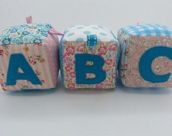 ABC fabric block set. Baby blocks. Soft play blocks.Name blocks. Alphabet blocks. Letter play blocks. Baby gift. Christening.Baby shower.