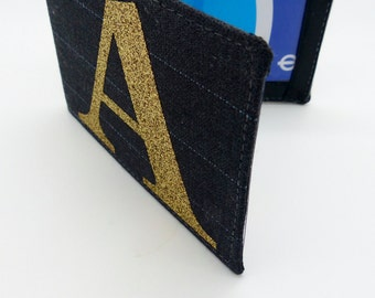 Personalised Oyster card holder, bus pass holder, travel card holder,wallet. Grey pin stripe fabric. Gold glitter initial.Credit card holder