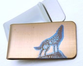 HOWLING WOLF Money Clip  -  Animal Money Clip  - Gold - Rustic Wedding - Wolf Silhouette - Free Shipping