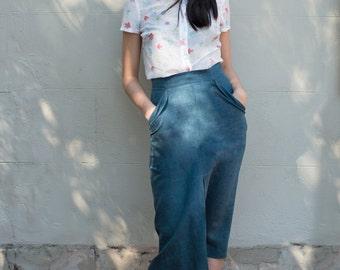 SALE - Linen Front-Pleat Skirt - 'Journeyed' skirt in Teal