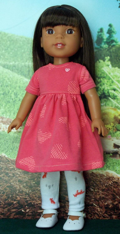 Salmon Colored Herringbone Blazer: Salmon Colored Knit Dress For Wellie Wishers Dolls