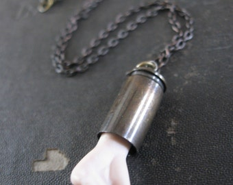 Porcelain Doll Hand and Bullet Necklace - Pretty Handy No. 7