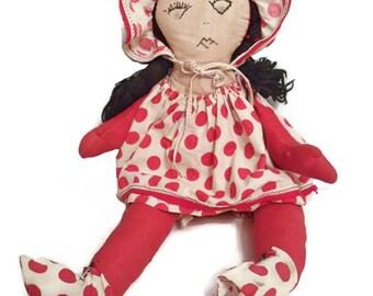 Primitive folk art cloth doll - 1930s - Home made - Depression era