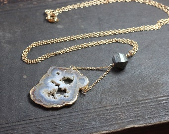 Agate Slice Necklace Gold Dipped Pendant Necklace Rustic Jewelry Rough Geode Necklace Pyrite
